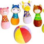 Parkfield Bowling morbido per bambini con palla morbida e animaletti di peluche come birilli
