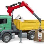 bruder- Camion con Gru di Carico e Contenitore in Vetro Anticato, Multicolore, 3753