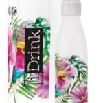 i-Drink – Bottiglia a Doppia Parete, in Acciaio, Termica, 500 ml, Decorata 500 Ml Colibrì