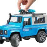 Bruder Spielwaren- Land Rover Defender Polizia Luci e Suoni, Colore Blu, Taglia Unica, 2597