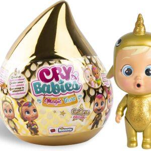 CRY BABIES MAGIC TEARS Golden Edition – Mini bambole dorate da collezione con lacrime e accessori vere, modello assortito