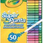 Crayola Pennarelli Lavabili, Punta Media, per Scuola e Tempo Libero, Colori Assortiti, 50 Pezzi, 7555-50