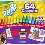 Crayola Pets-64 Pastelli a cera di alta qualità fascettati singolarmente, la confezione include un temperino apposito, Multicolore, 52-1164