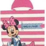 Asciugamano Minnie Poncho in microfibra, mantello Disney a righe rosa, 50 x 100 cm